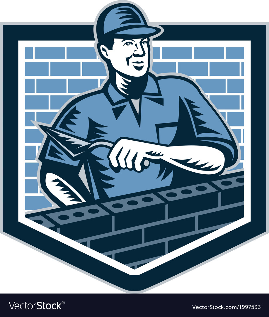 Brick layer mason masonry worker retro vector | Price: 1 Credit (USD $1)