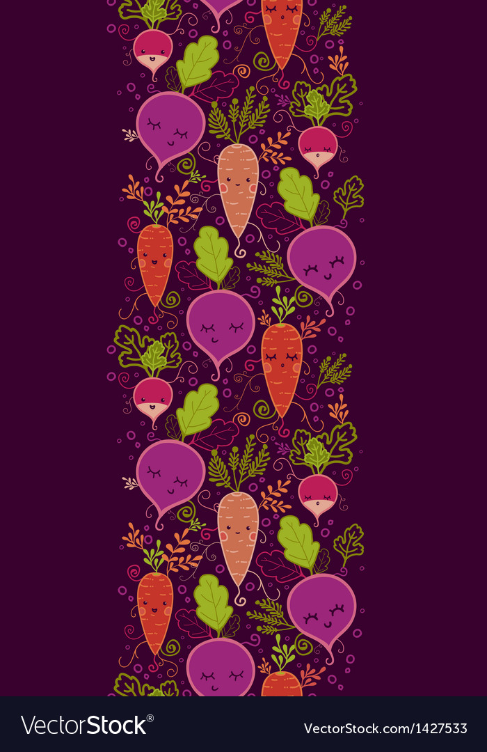 Happy root vegetables vertical seamless pattern vector | Price: 1 Credit (USD $1)