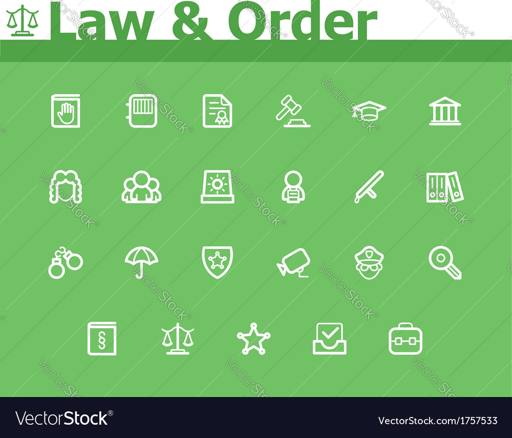 Law and order icon set vector