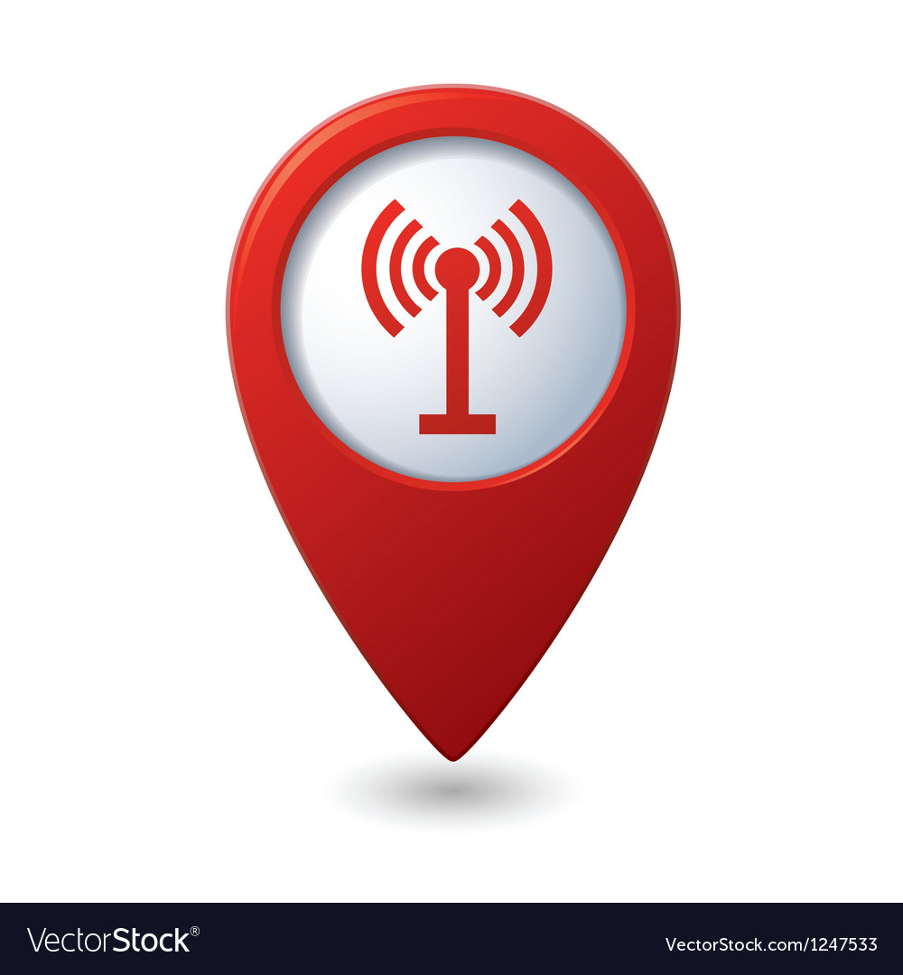 Map pointer with wireless icon vector | Price: 1 Credit (USD $1)