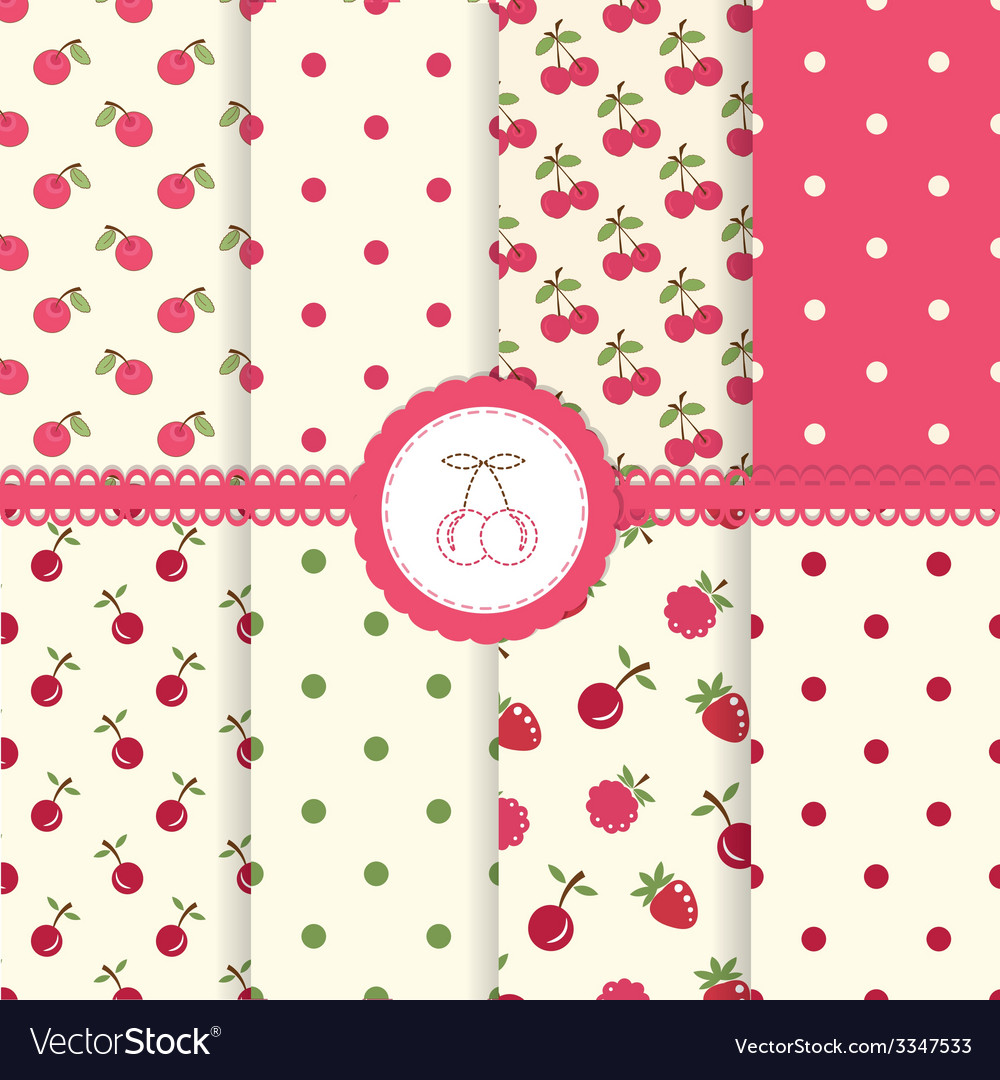 Set of cherry seamless patterns vector