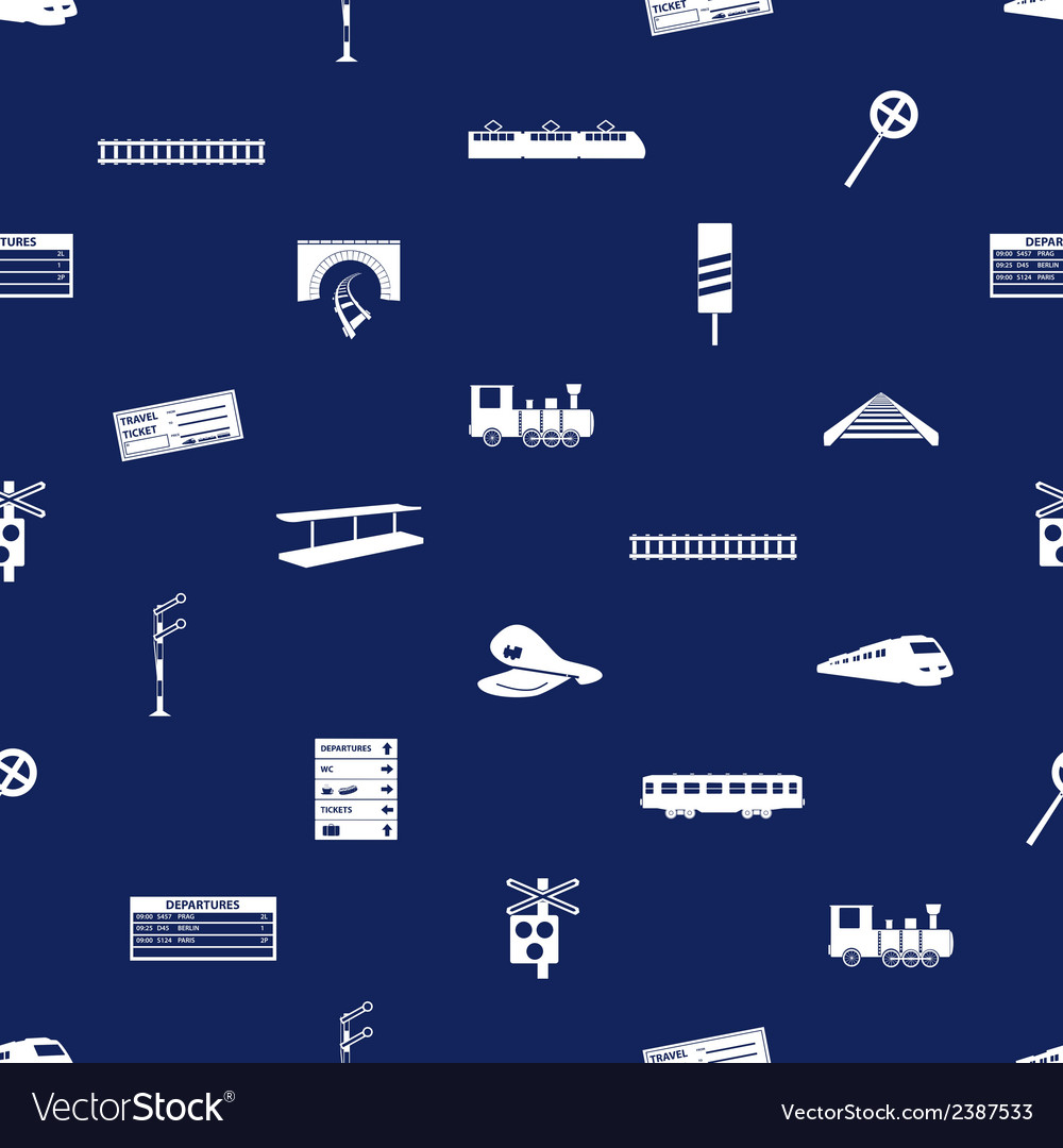 Train and railway seamless blue pattern eps10 vector | Price: 1 Credit (USD $1)
