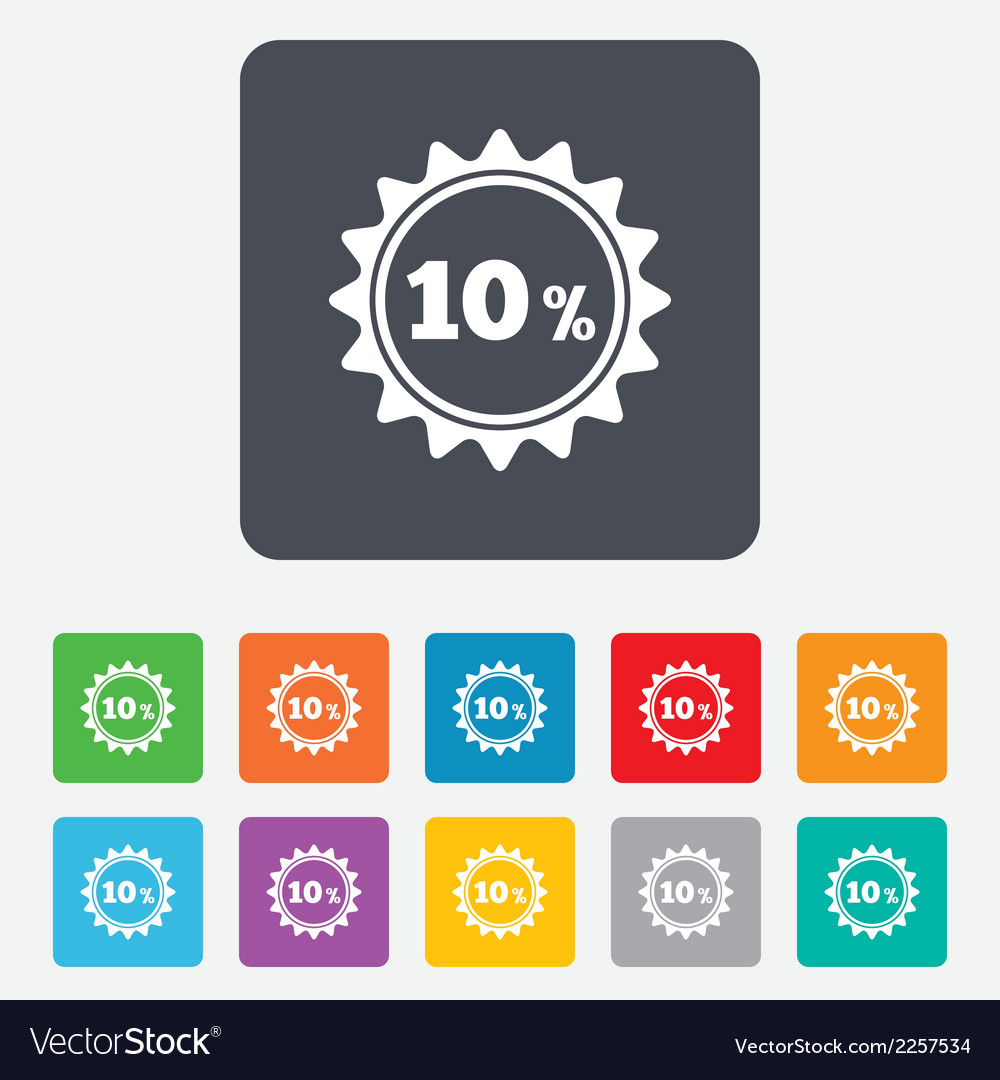 10 percent discount sign icon sale symbol vector | Price: 1 Credit (USD $1)
