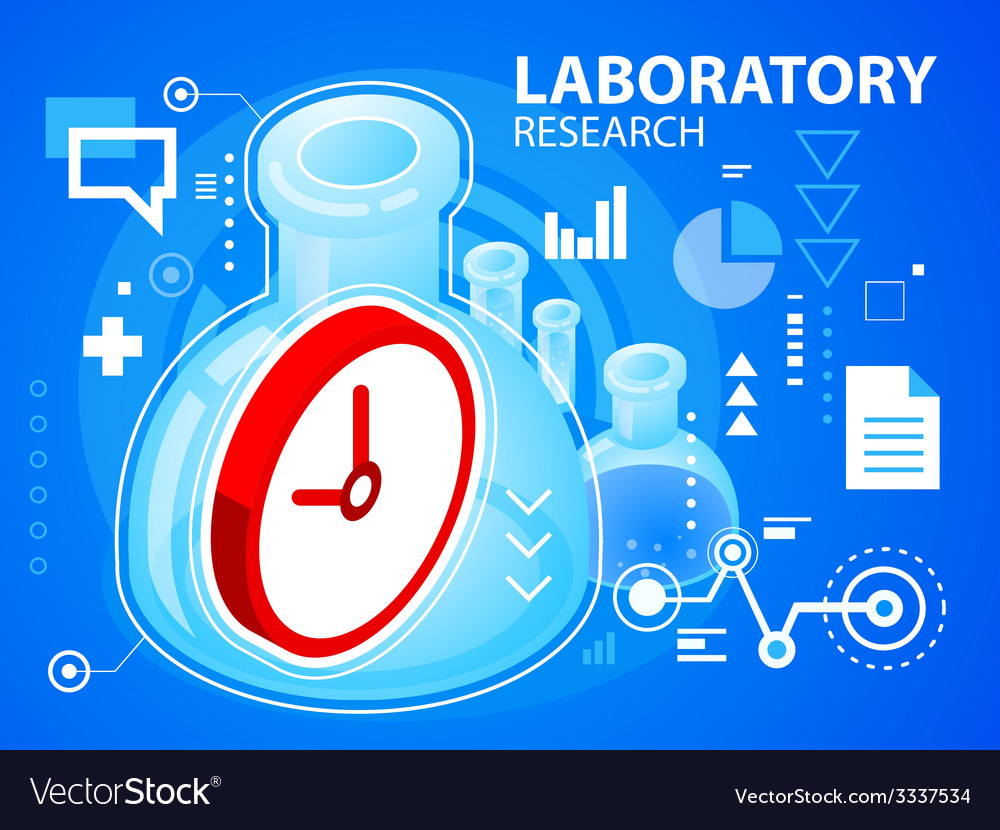Bright laboratory research and clock on blue vector | Price: 3 Credit (USD $3)