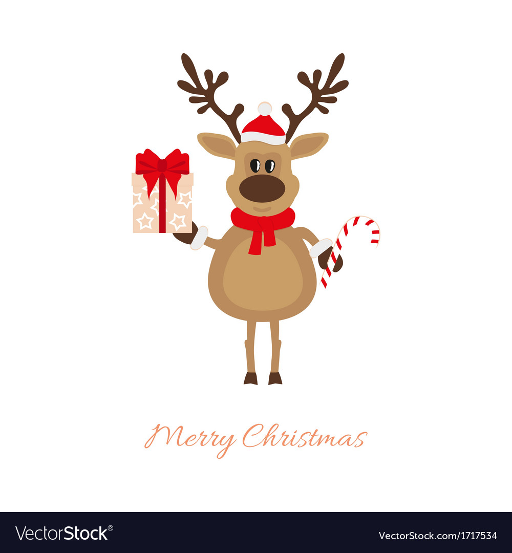 Christmas reindeer with gift and caramel cane vector | Price: 1 Credit (USD $1)