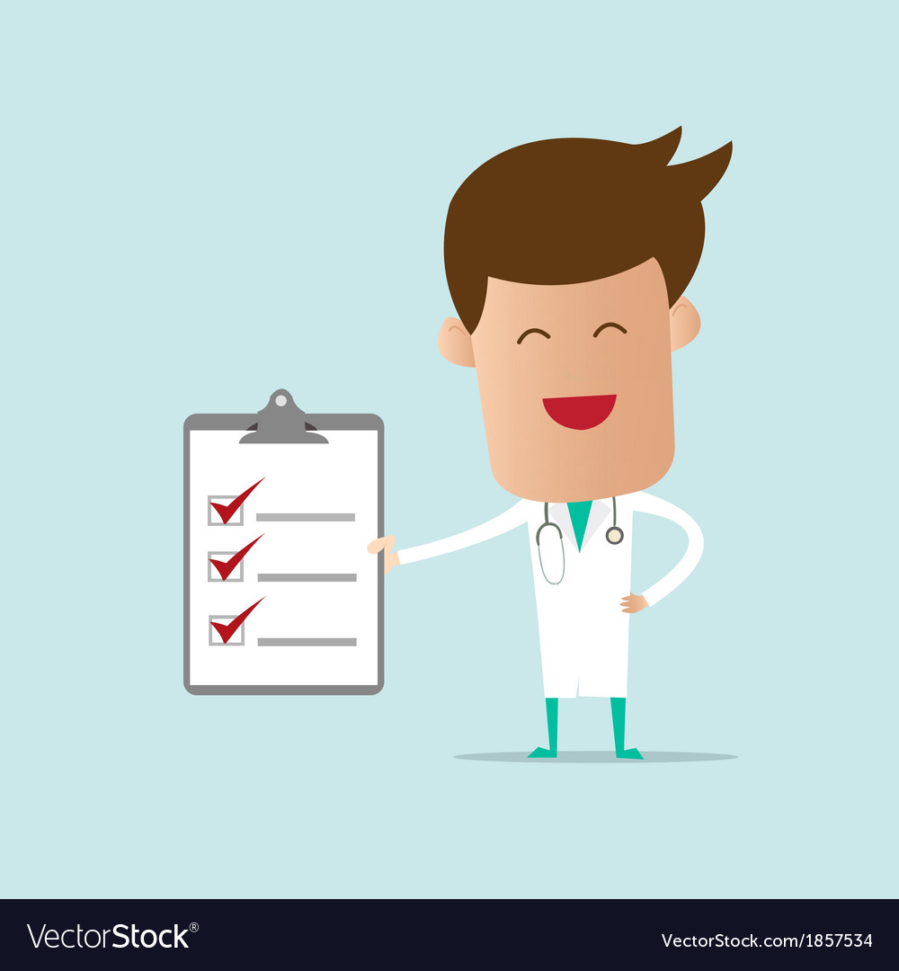 Doctor holding checklist note vector | Price: 1 Credit (USD $1)