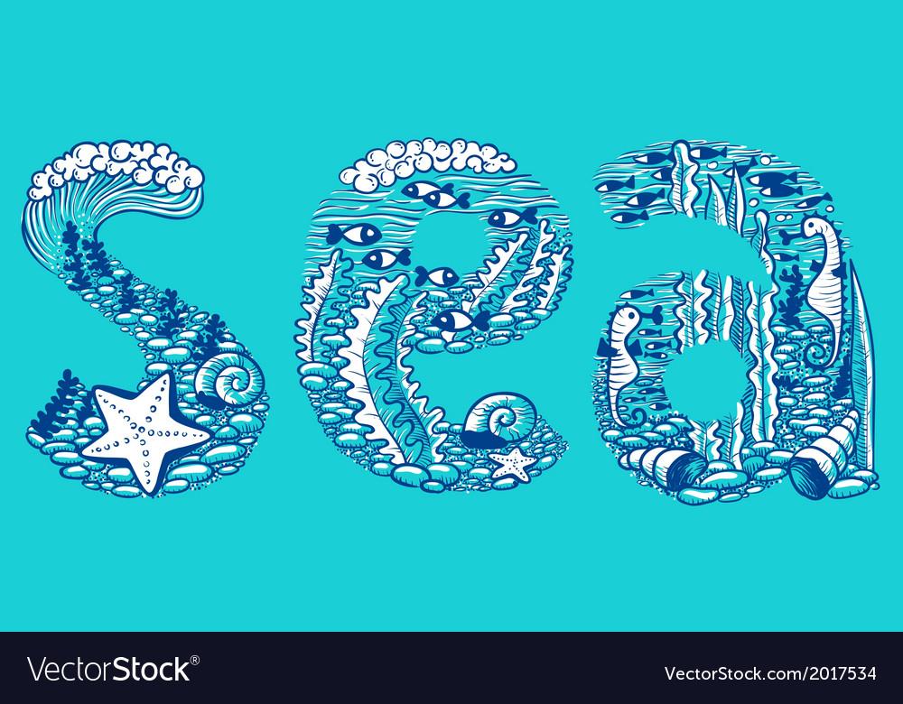 Doodle sea vector   Price: 1 Credit (USD $1)