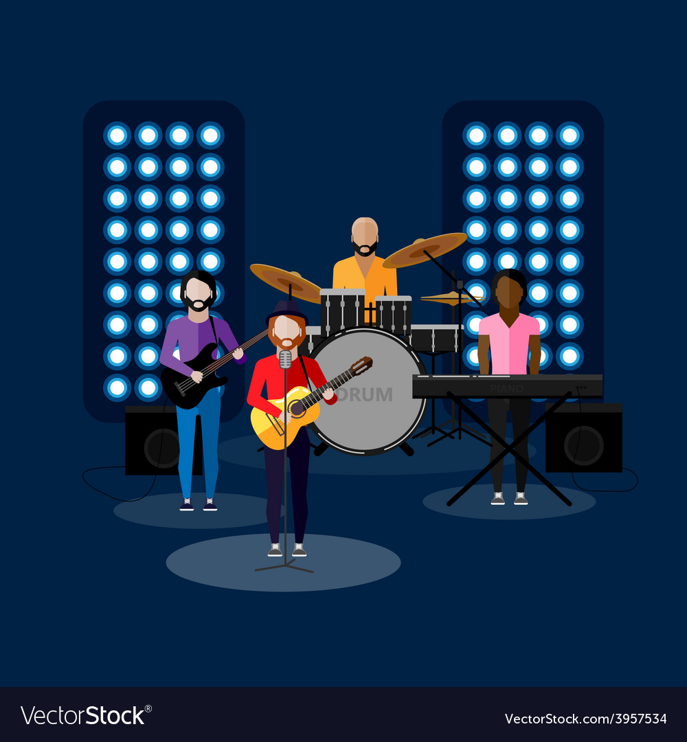 Flat of music band on stage vector | Price: 1 Credit (USD $1)