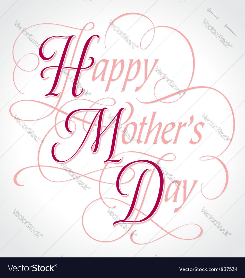 Happy mothers day hand lettering vector | Price: 1 Credit (USD $1)