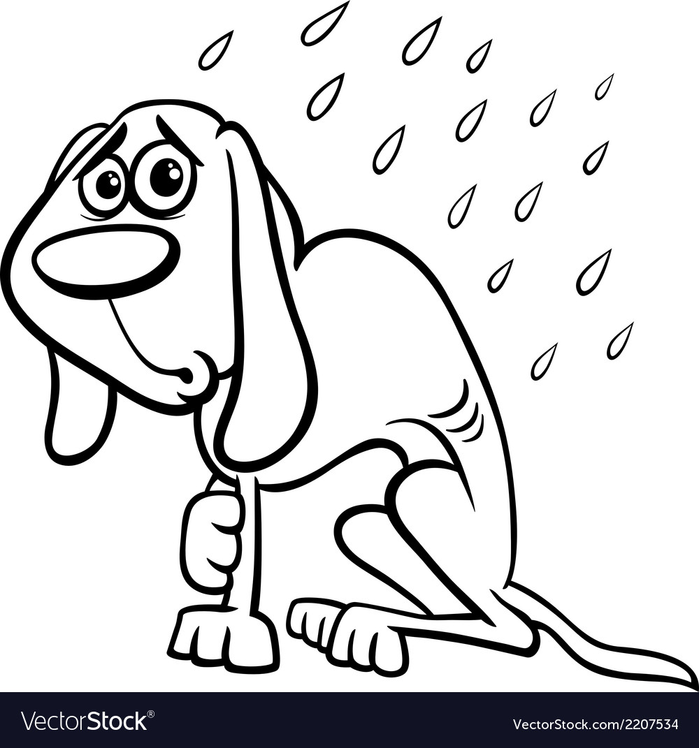 Homeless dog cartoon coloring page vector | Price: 1 Credit (USD $1)