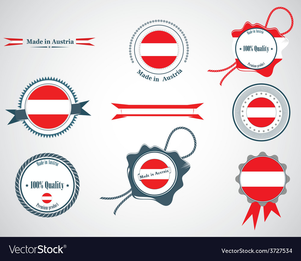 Made in austria - set of seals badges vector | Price: 1 Credit (USD $1)