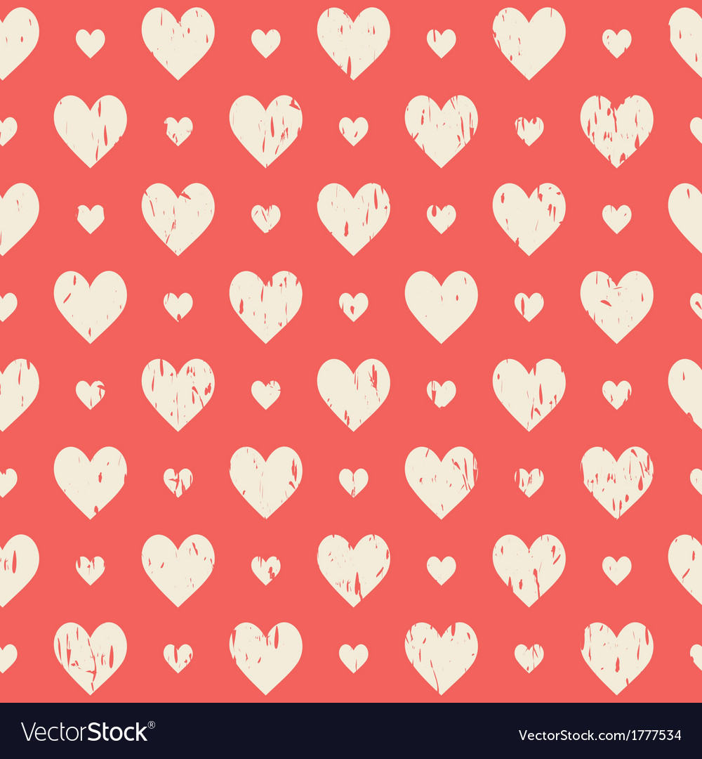 Red retro seamless pattern with hearts vector | Price: 1 Credit (USD $1)