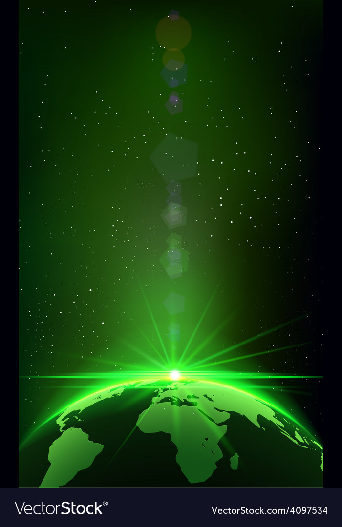 Rising sun over the earth planet with space vector | Price: 1 Credit (USD $1)