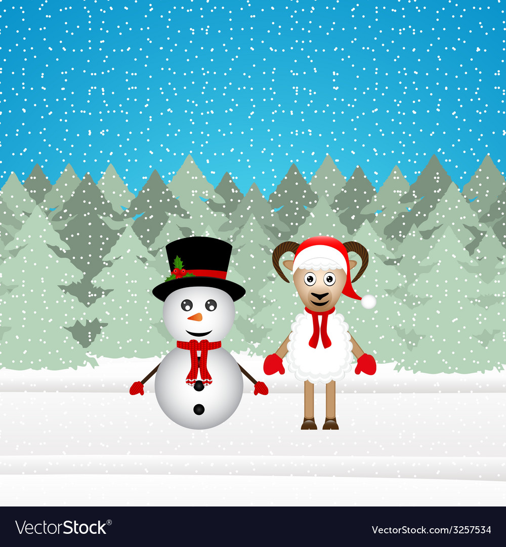 Snowman and christmas goat vector | Price: 1 Credit (USD $1)