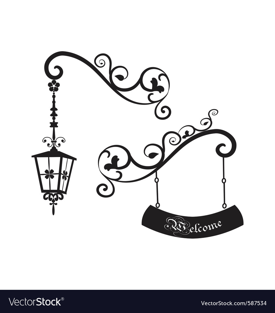Street old lamp and sign vector | Price: 1 Credit (USD $1)