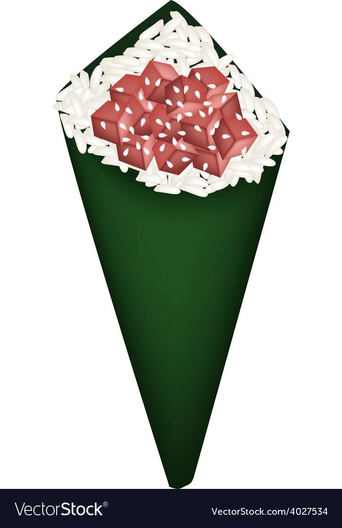Tuna cubes temaki or tuna hand roll sushi vector | Price: 1 Credit (USD $1)
