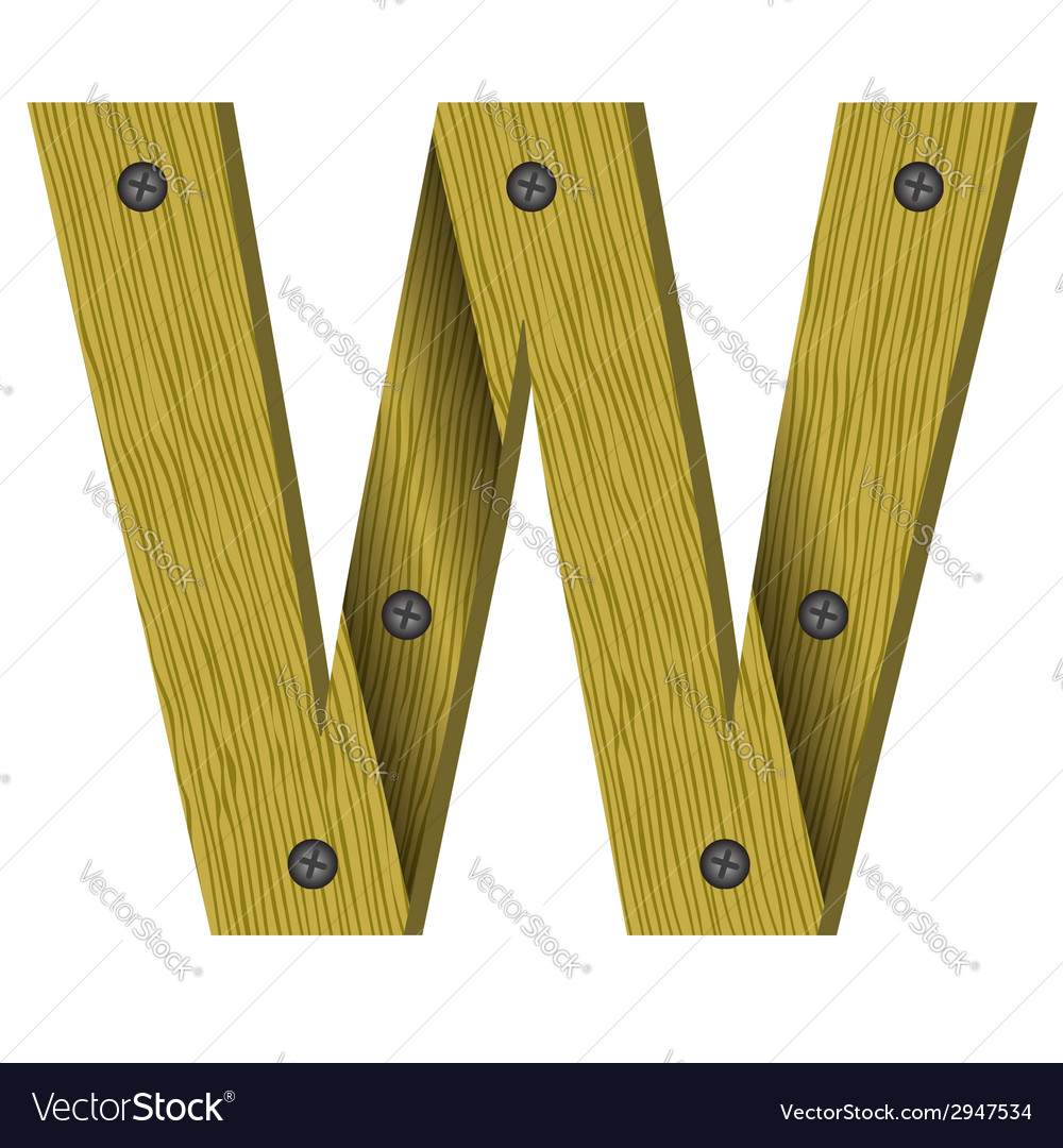 Wood letter w vector | Price: 1 Credit (USD $1)