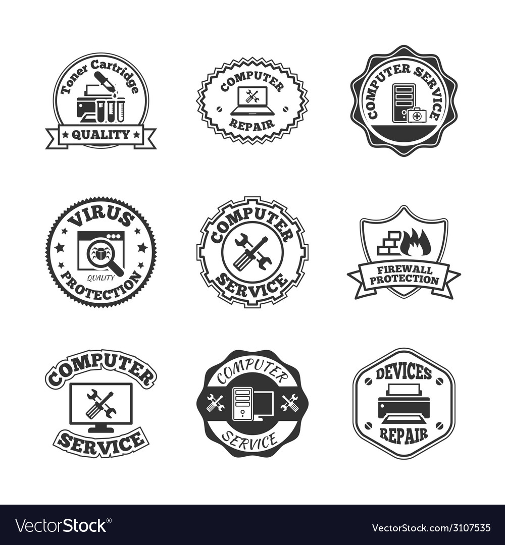 Computer repair labels icons set vector | Price: 1 Credit (USD $1)