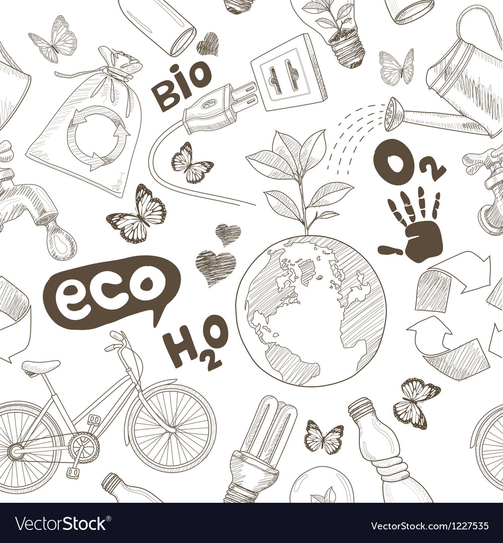 Ecology doodles icons seamless vector | Price: 1 Credit (USD $1)