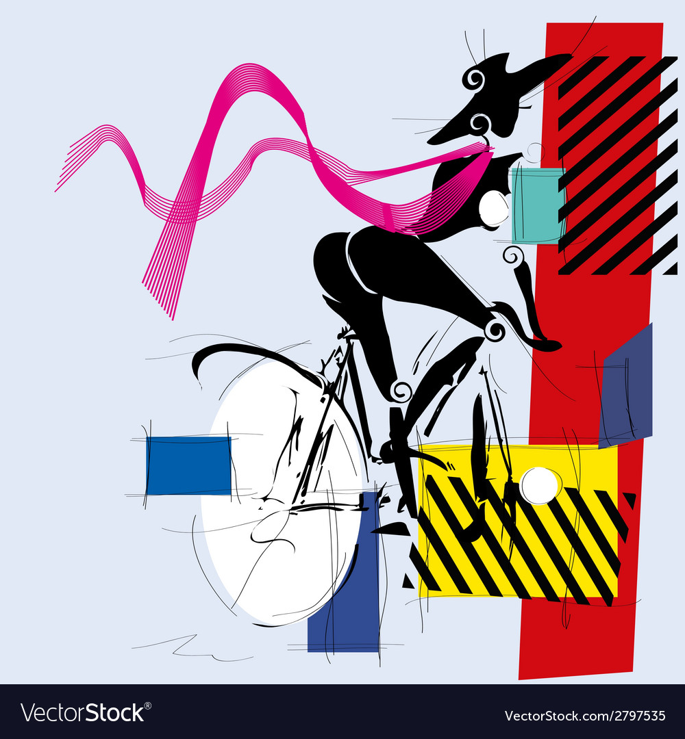 Fashion girl by bicycle vector | Price: 1 Credit (USD $1)