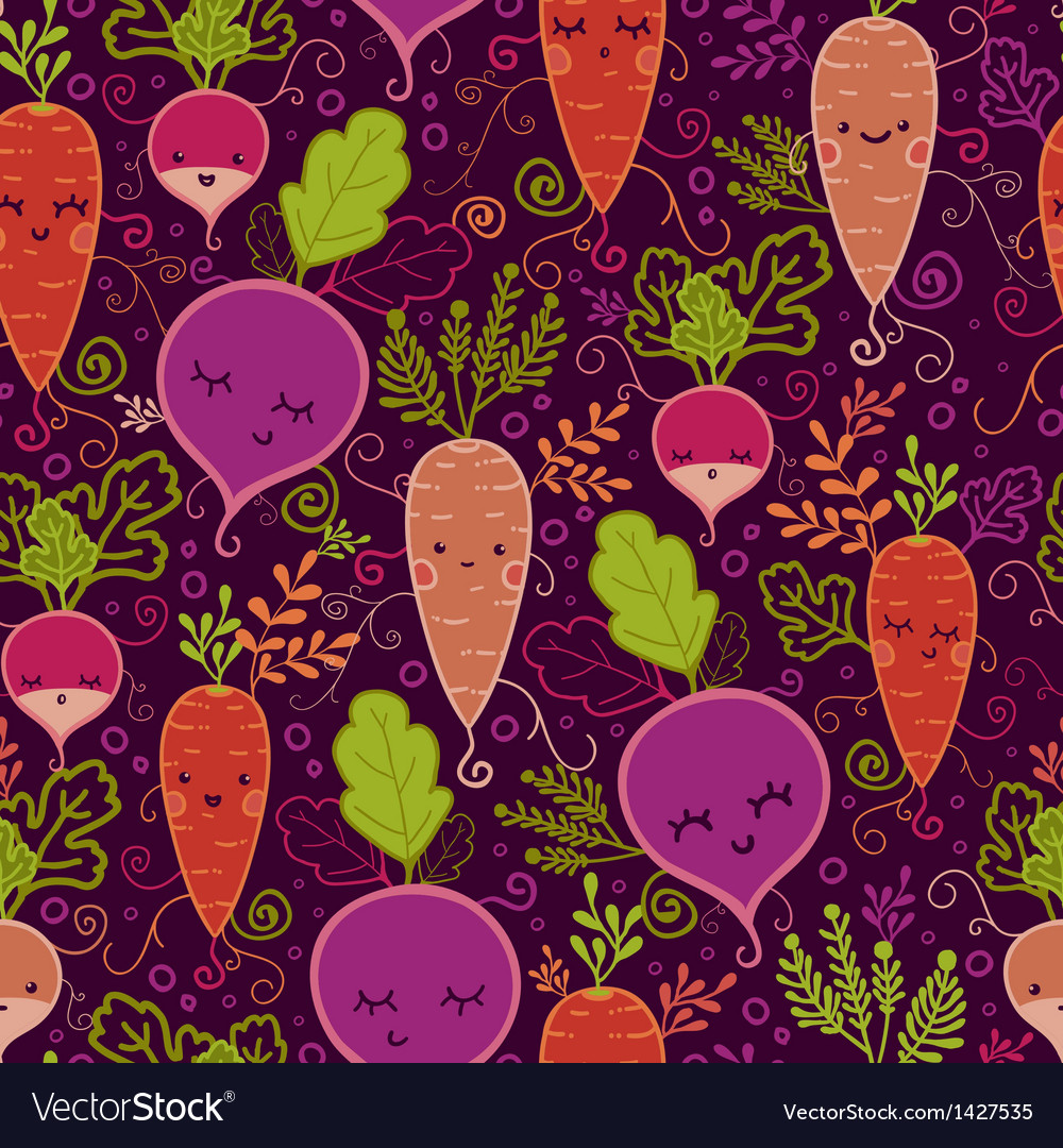 Happy root vegetables seamless pattern background vector | Price: 1 Credit (USD $1)