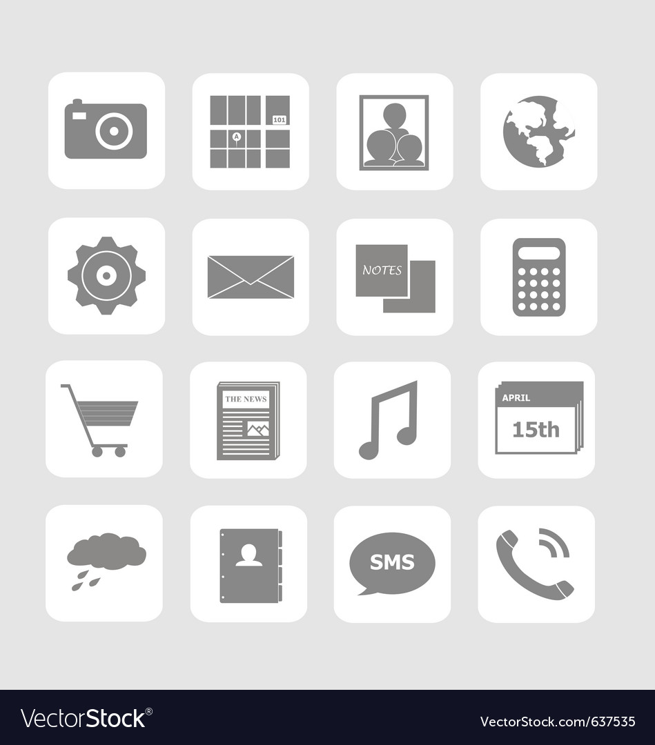 Phone icon set vector | Price: 1 Credit (USD $1)