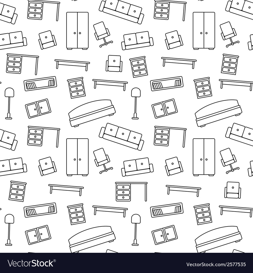 Seamless pattern of furniture beautiful background vector | Price: 1 Credit (USD $1)