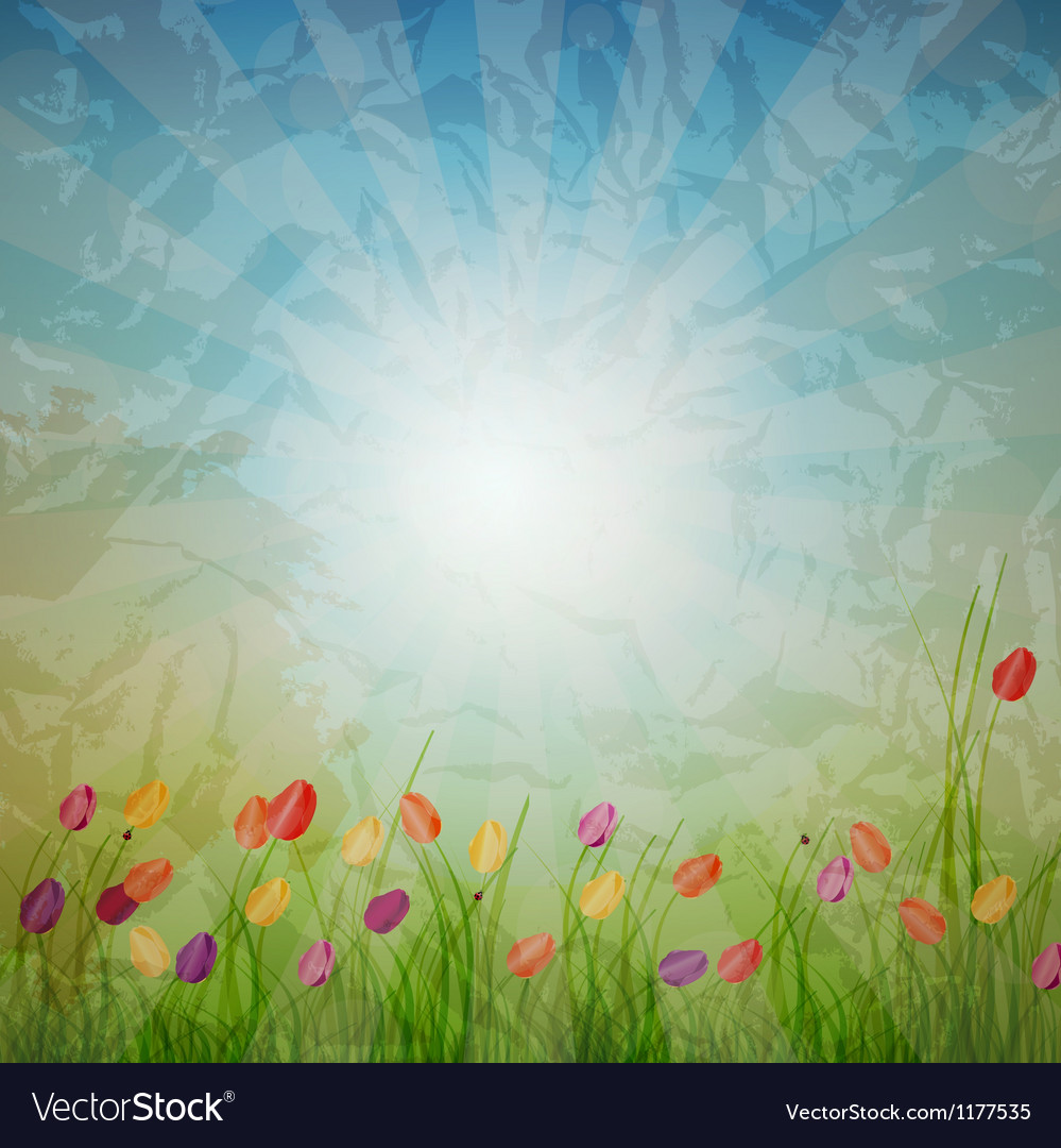 Summer abstract background with grass and tulips vector   Price: 1 Credit (USD $1)