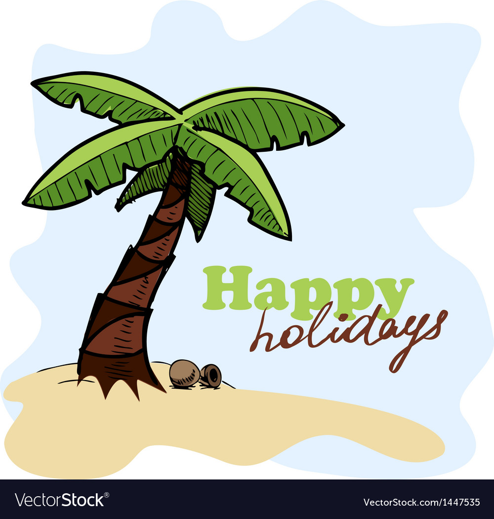 Tropic island background card concept vector | Price: 1 Credit (USD $1)