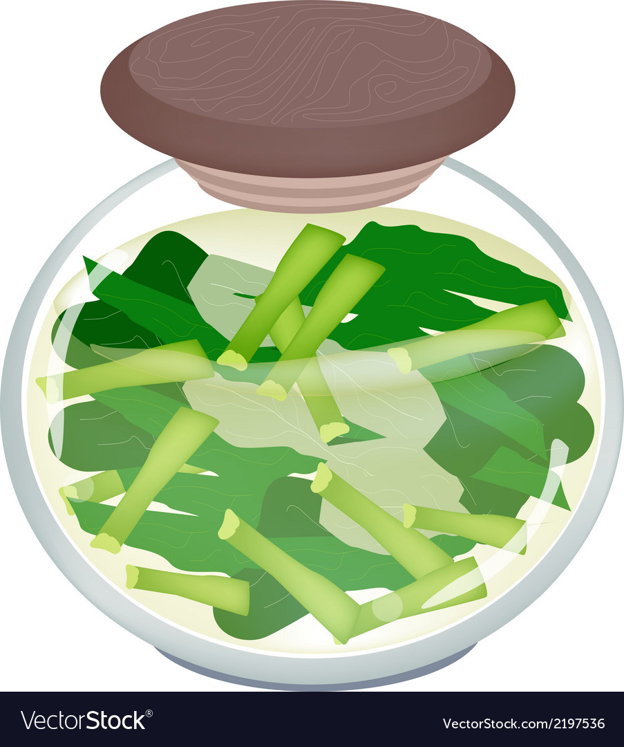 A jar of pickled chopped chinese broccoli vector | Price: 1 Credit (USD $1)