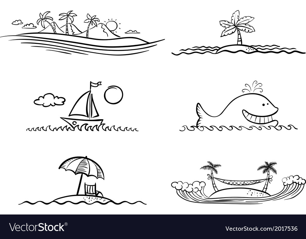 Beach design elements vector | Price: 1 Credit (USD $1)