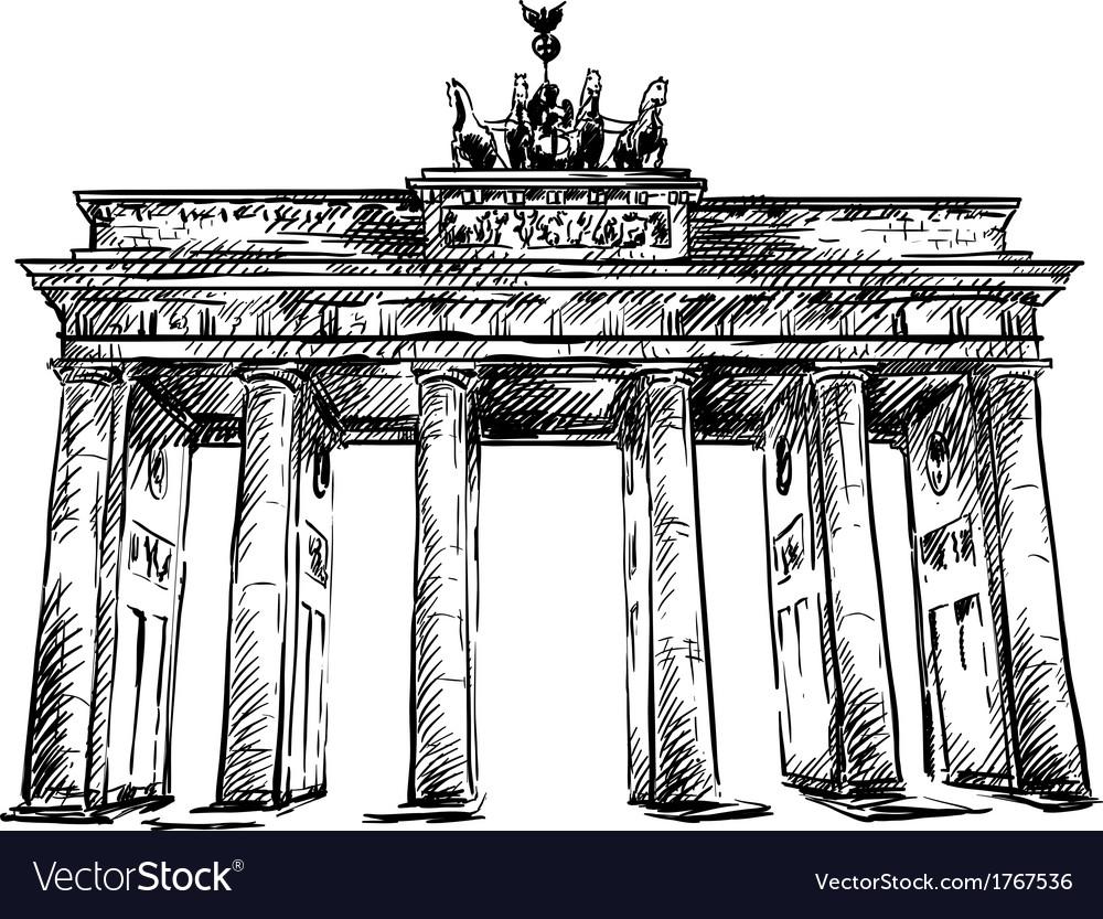 Brandenburg gate sketch vector | Price: 1 Credit (USD $1)