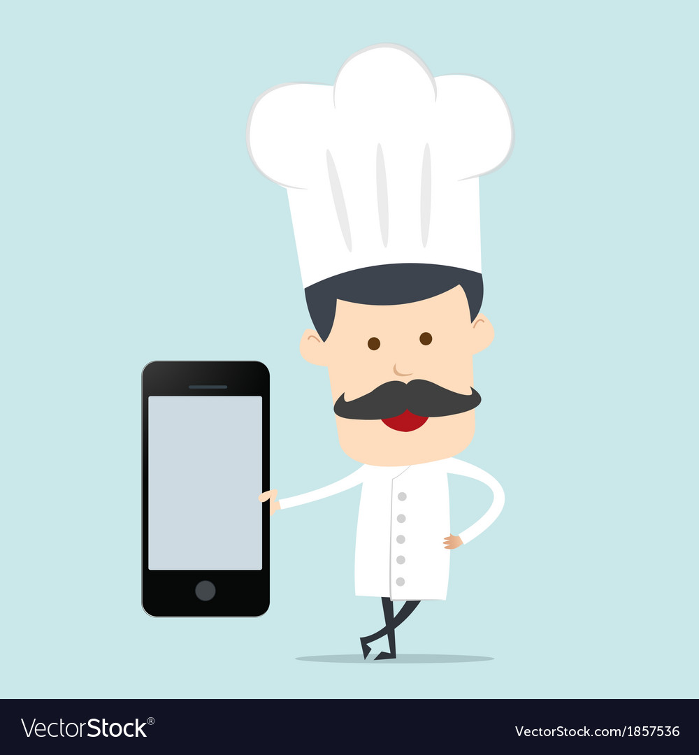 Chef show blank mobile device for use in vector | Price: 1 Credit (USD $1)