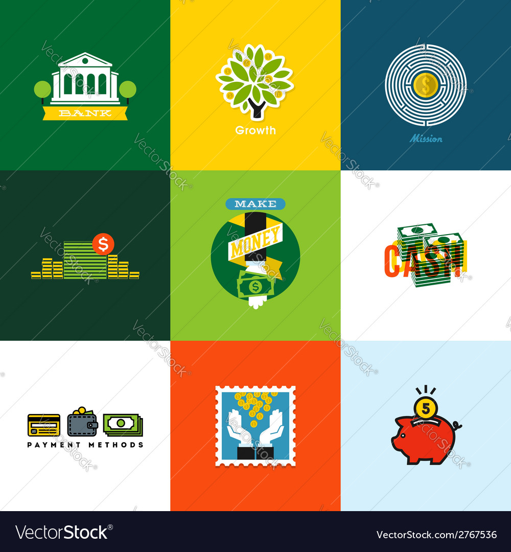 Creative icons of wallet banking cash growth coins vector | Price: 1 Credit (USD $1)