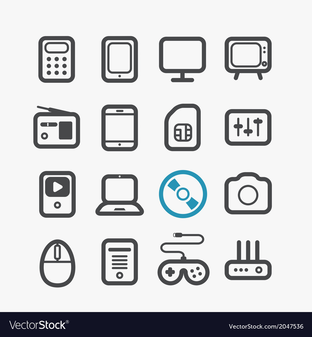 Different techno icons set vector | Price: 1 Credit (USD $1)