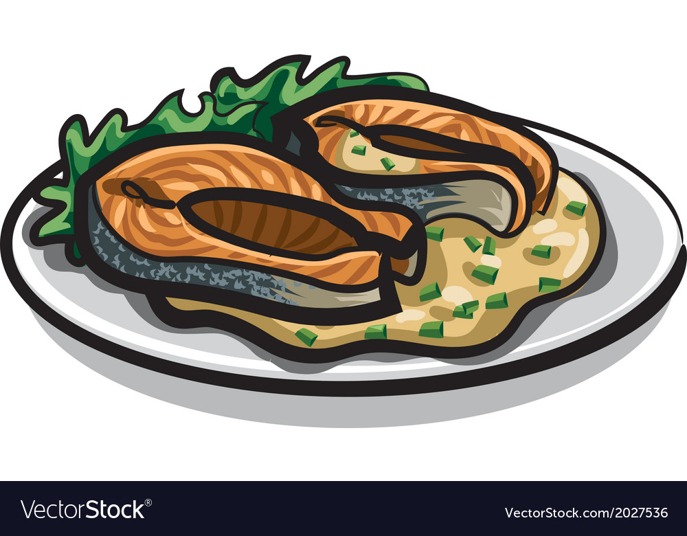 Grilled salmon and sauce vector | Price: 1 Credit (USD $1)