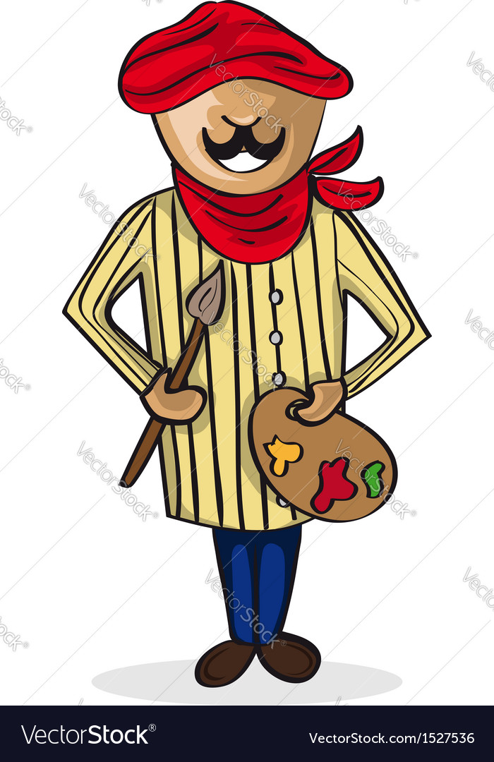 Profession painter artist man cartoon figure vector | Price: 1 Credit (USD $1)