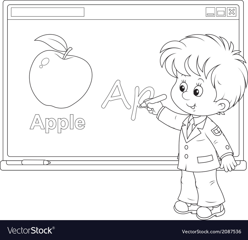 Schoolboy at the interactive whiteboard vector | Price: 1 Credit (USD $1)
