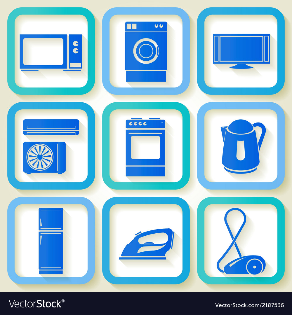 Set of 9 retro icons of domestic appliances vector | Price: 1 Credit (USD $1)