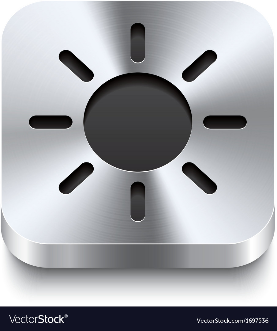 Square metal button perspektive - sun icon vector | Price: 1 Credit (USD $1)
