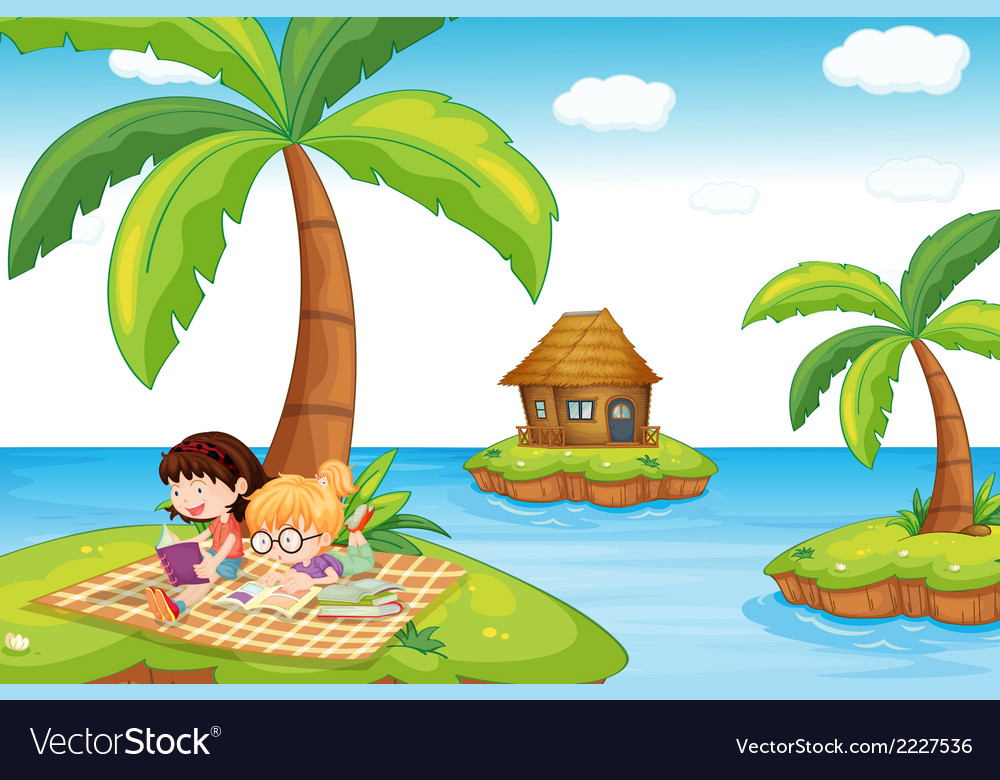 Three islands in the ocean vector | Price: 1 Credit (USD $1)