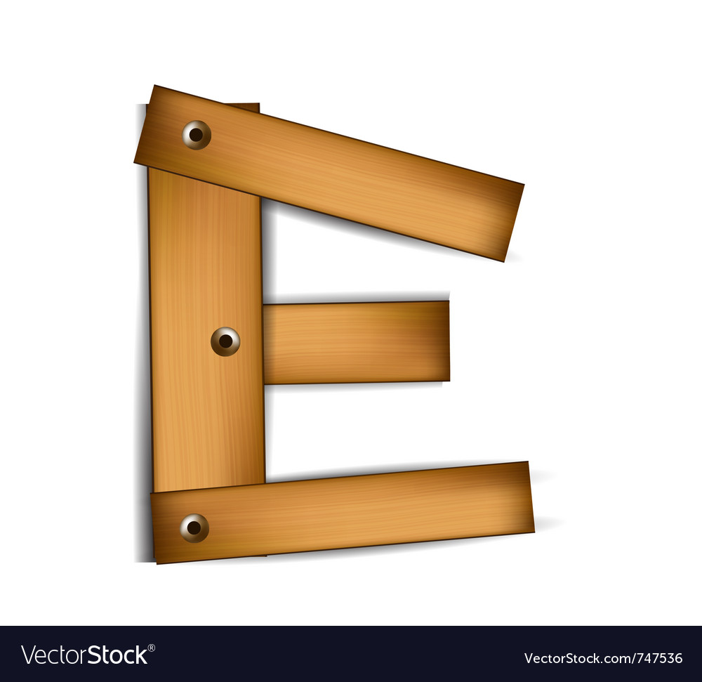 Wooden type e vector | Price: 1 Credit (USD $1)