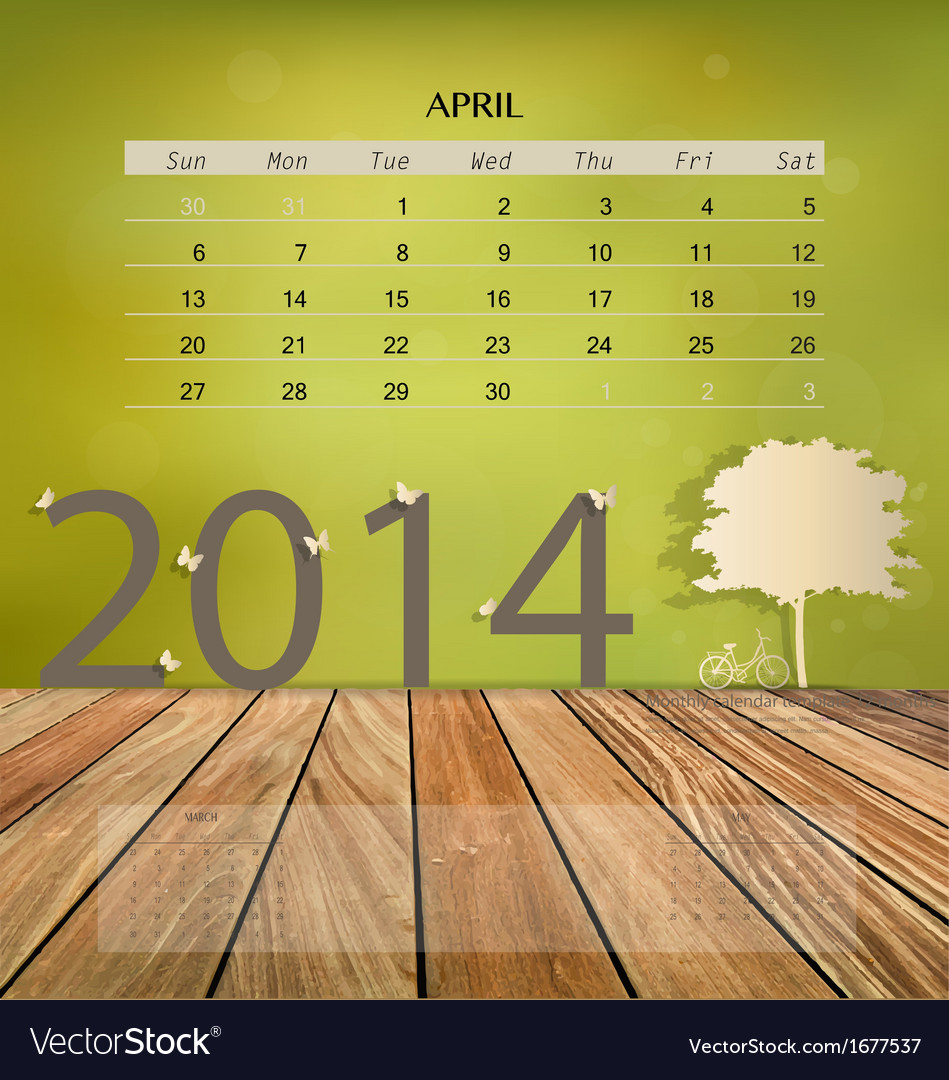 2014 calendar monthly calendar template for april vector