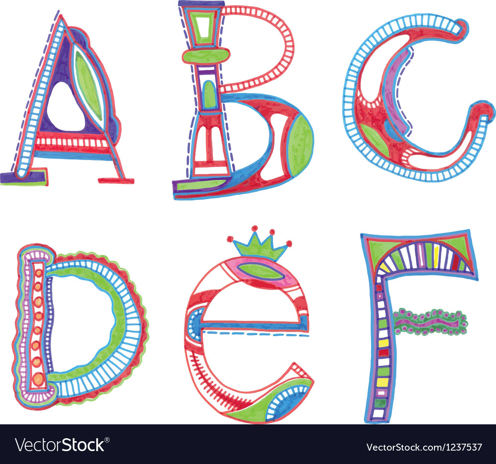 Abc font sketchy alphabet design vector | Price: 1 Credit (USD $1)