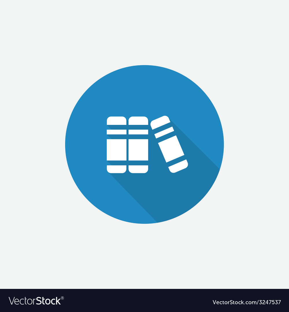 Books flat blue simple icon with long shadow vector | Price: 1 Credit (USD $1)