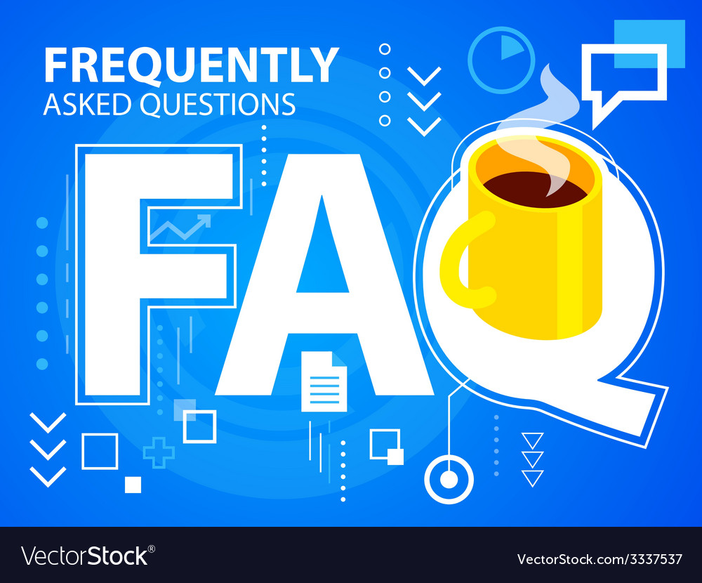 Bright faq and coffee on blue background for vector | Price: 3 Credit (USD $3)