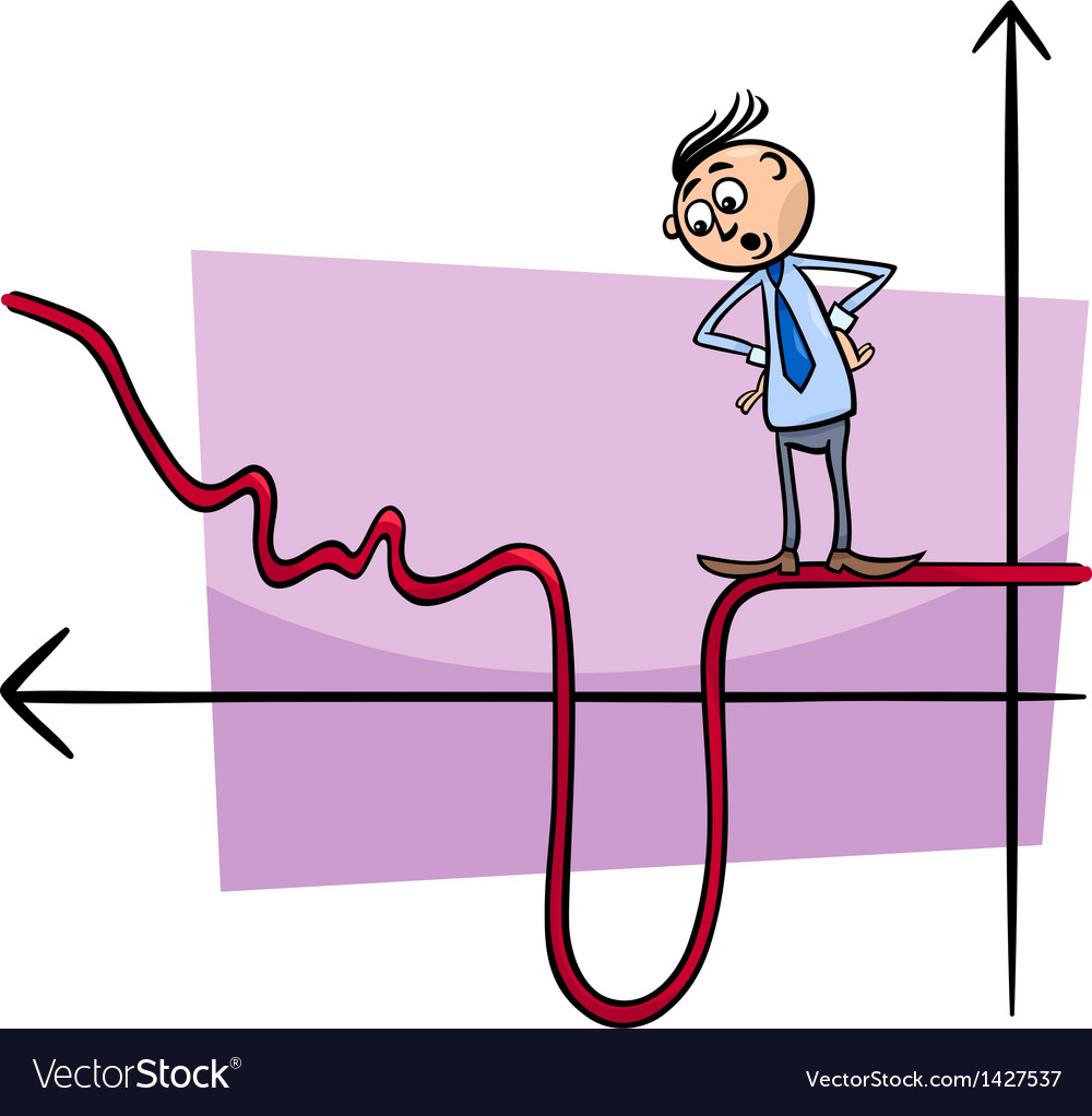 Businessman on graph curve cartoon vector | Price: 1 Credit (USD $1)