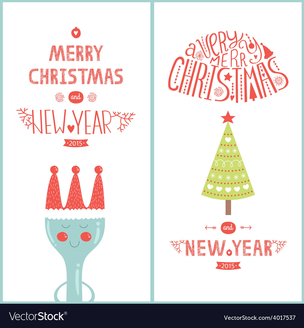 Christmas greeting card for design cafe with tree vector | Price: 1 Credit (USD $1)