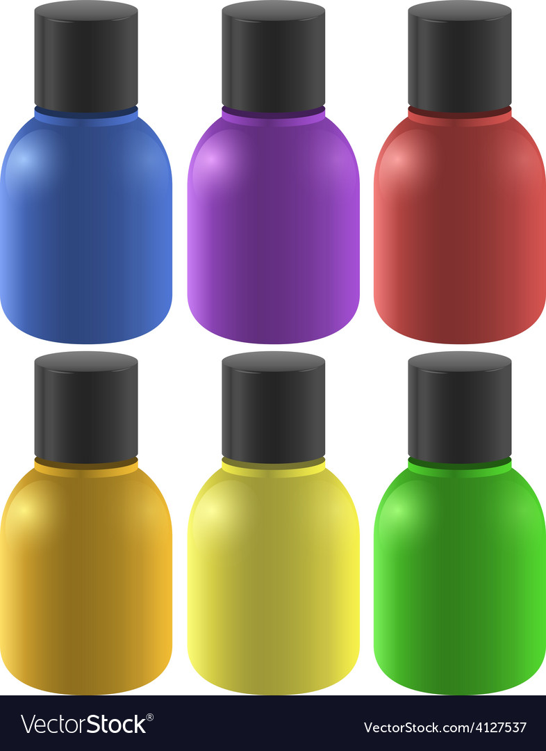 Colourful ink bottles vector | Price: 1 Credit (USD $1)