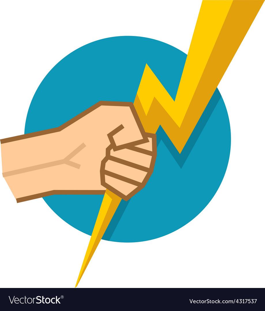 Hand holding lightning vector | Price: 1 Credit (USD $1)